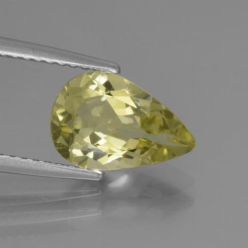 1.95 ct Pear Facet Pale Cream Yellow Apatite Gemstone 10.79 mm x 7.2 mm (Product ID: 439049)