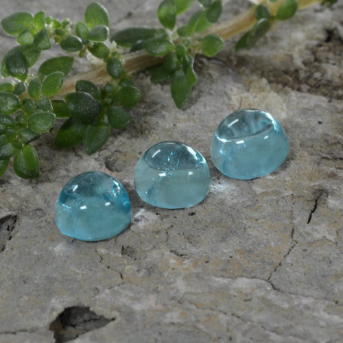 Green Blue Apatite Gem - 0.5ct Round Cabochon (ID: 468275)