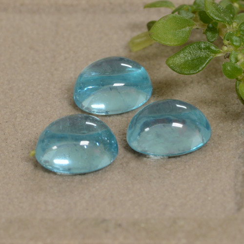 Green Blue Apatite Gem - 0.7ct Oval Cabochon (ID: 473348)