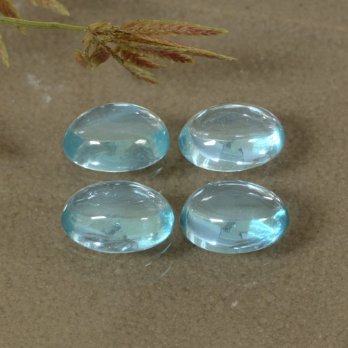 Blue Apatite Gem - 0.5ct Oval Cabochon (ID: 473454)