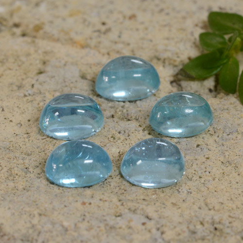 Light Blue Green Apatite Gem - 0.4ct Oval Cabochon (ID: 473903)