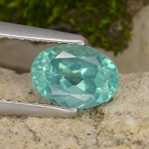 Green Blue Apatite Gem - 1.2ct Oval Facet (ID: 475512)