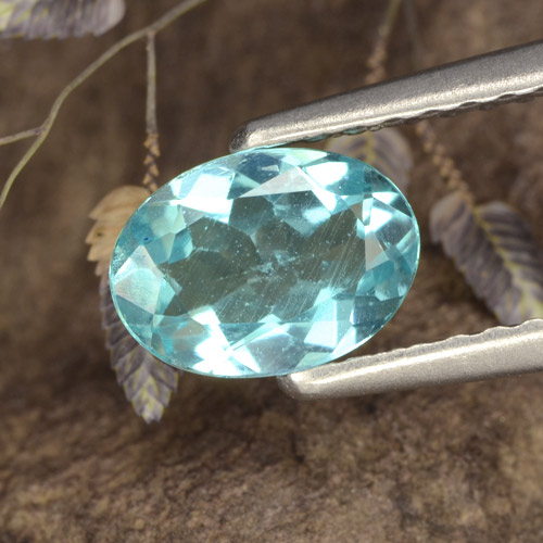 Green Blue Apatite Gem - 0.7ct Oval Facet (ID: 475588)