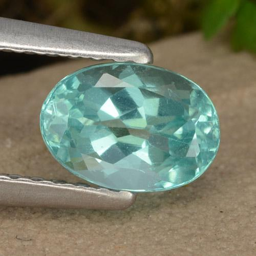 Green Blue Apatite Gem - 1ct Oval Facet (ID: 475900)