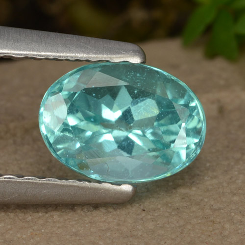 Green Blue Apatite Gem - 1ct Oval Facet (ID: 475902)