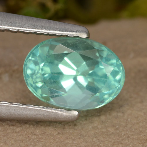 Green Blue Apatite Gem - 1.1ct Oval Facet (ID: 476010)