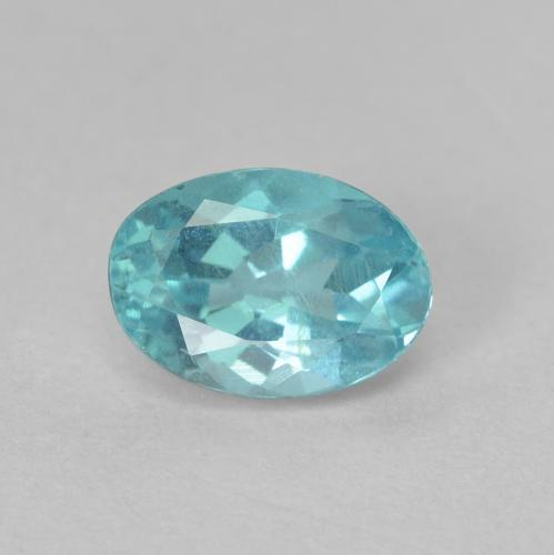 Green Blue Apatite Gem - 0.9ct Oval Facet (ID: 476211)