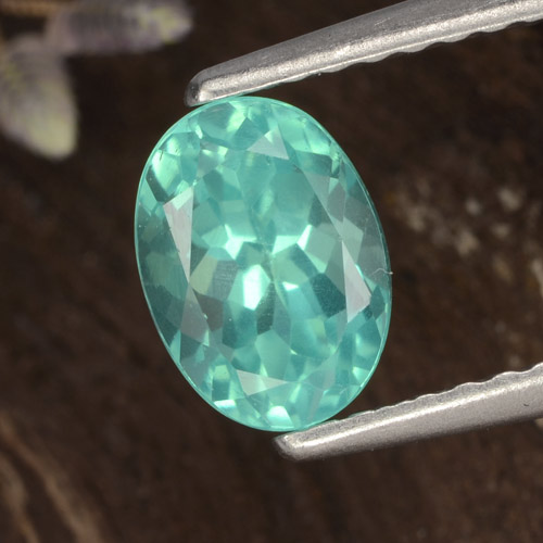 Light Teal Apatite Gem - 1.1ct Oval Facet (ID: 476250)