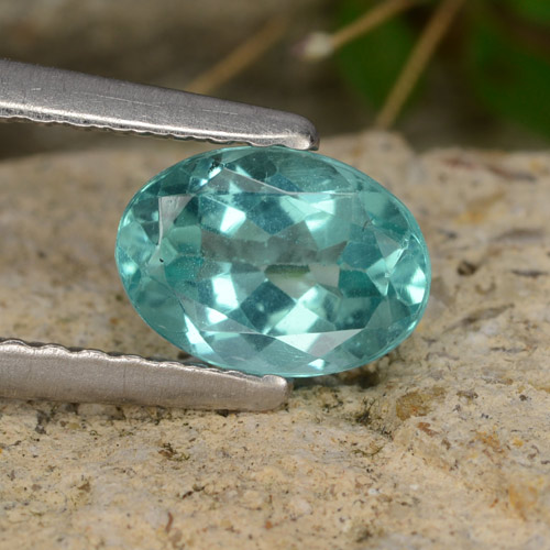 Green Blue Apatite Gem - 0.8ct Oval Facet (ID: 476349)