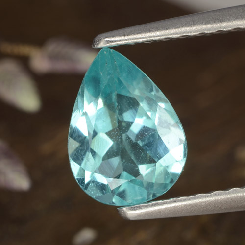 Green Blue Apatite Gem - 1ct Pear Facet (ID: 476402)