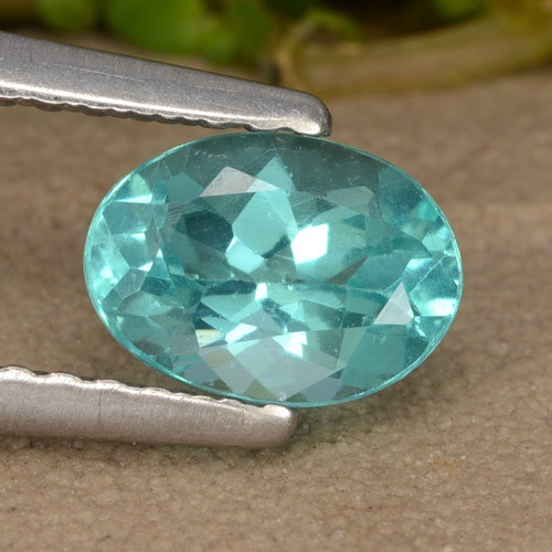Green Blue Apatite Gem - 0.9ct Oval Facet (ID: 476523)
