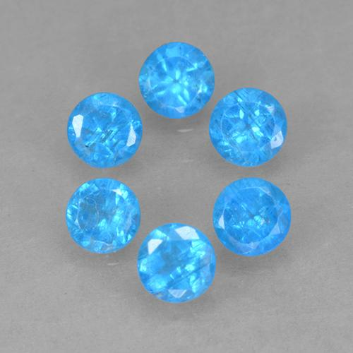 Deep Azure Apatite Gem - 0.2ct Round Facet (ID: 502602)