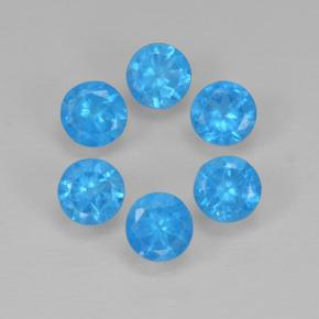 Blue Apatite Gem - 0.2ct Round Facet (ID: 503064)