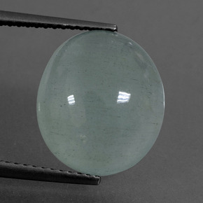 Light Blue Aquamarine Gem - 7.7ct Oval Cabochon (ID: 414487)