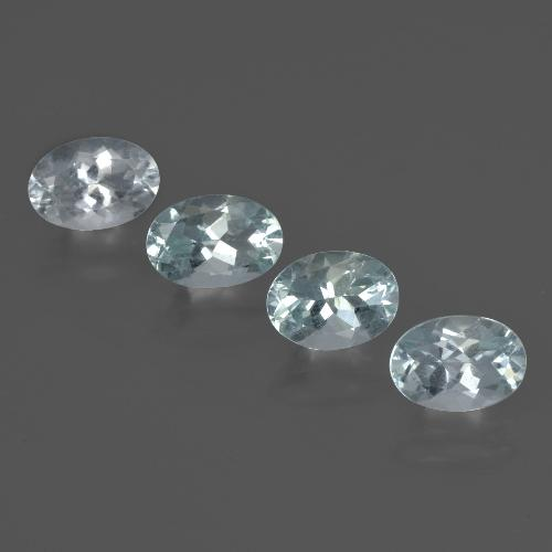 Light Green Blue Aquamarine Gem - 0.7ct Oval Facet (ID: 419213)
