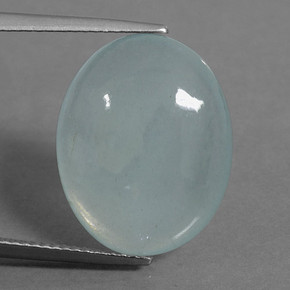 Light Blue-Green Aguamarina Gema - 12ct Cabujón Óvalo (ID: 458799)