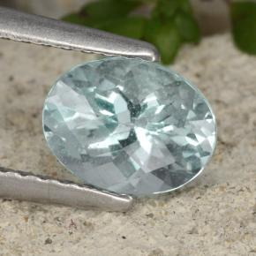 Light Greenish Blue Aguamarina Gema - 0.9ct Forma de Tablero de Ajedrez Óvalo (ID: 479340)