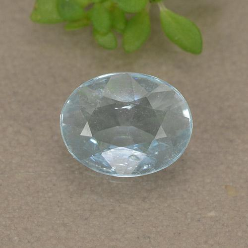 Light Blue Aquamarine Gem - 0.5ct Oval Facet (ID: 497423)