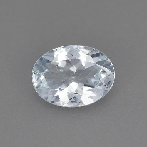 Bluish White Aquamarine Gem - 1ct Oval Facet (ID: 515453)