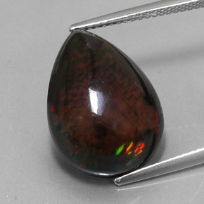 6.9ct Pear Cabochon Multicolor Black Opal Gem (ID: 330246)