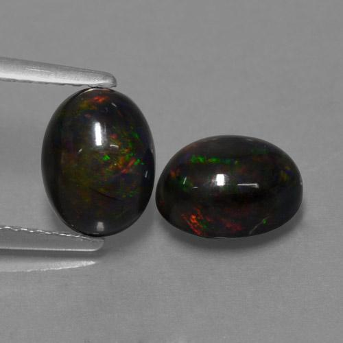 1.1ct Oval Cabochon Multicolor Black Opal Gem (ID: 464890)