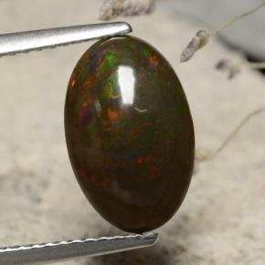 Multicolor Black Opal Gem - 2.4ct Oval Cabochon (ID: 471989)