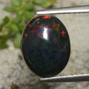 Multicolor Black Opal Gem - 1.8ct Oval Cabochon (ID: 472006)