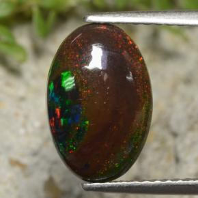 Multicolor Black Opal Gem - 2.1ct Oval Cabochon (ID: 472011)