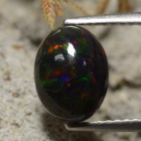 1.5ct Oval Cabochon Multicolor Black Opal Gem (ID: 473678)