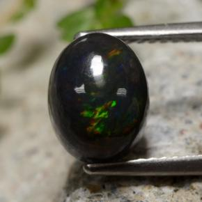 2.1ct Oval Cabochon Multicolor Black Opal Gem (ID: 473847)