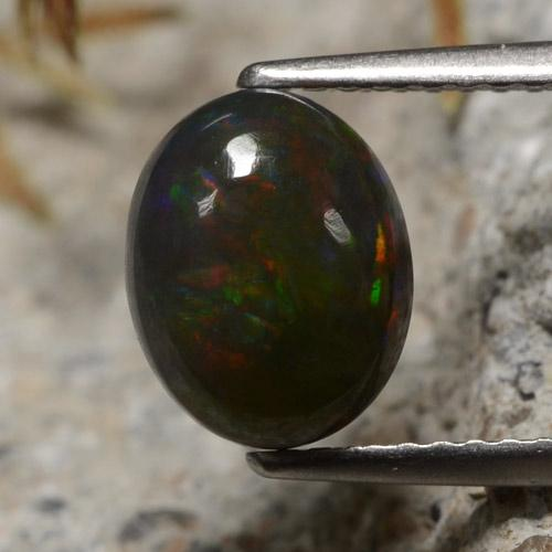 1.4ct Oval Cabochon Multicolor Black Opal Gem (ID: 473853)