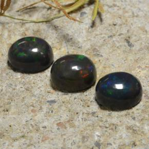 1.8ct Oval Cabochon Multicolor Black Opal Gem (ID: 473935)