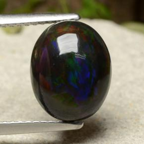 Multicolor Black Opal Gem - 2.5ct Oval Cabochon (ID: 490384)