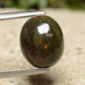 Multicolor Black Opal Gem - 2ct Oval Cabochon (ID: 490467)