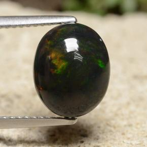 Multicolor Black Opal Gem - 2.2ct Oval Cabochon (ID: 490470)