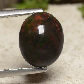 Multicolor Black Opal Gem - 2.2ct Oval Cabochon (ID: 490695)