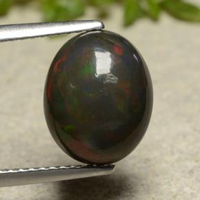 Multicolor Black Opal Gem - 2.8ct Oval Cabochon (ID: 490886)