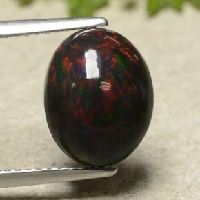 Multicolor Black Opal Gem - 2.9ct Oval Cabochon (ID: 490888)