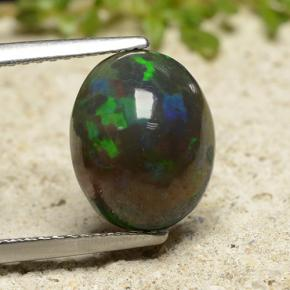 Multicolor Black Opal Gem - 2.5ct Oval Cabochon (ID: 490893)