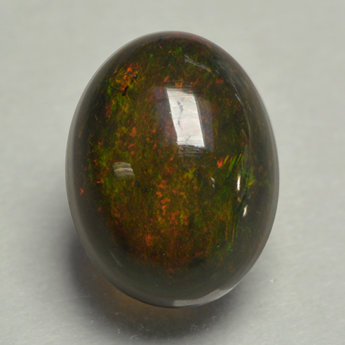 0.8ct Oval Cabochon Multicolor Black Opal Gem (ID: 499876)