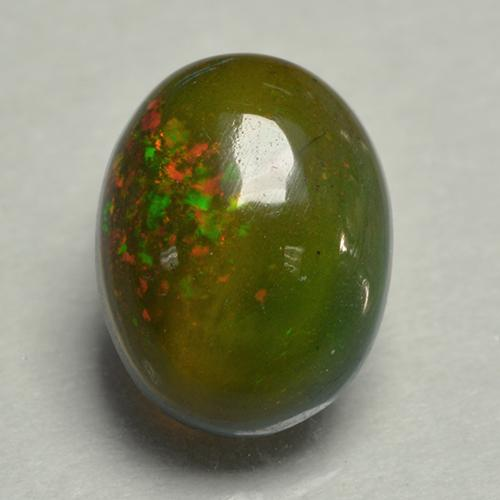 0.8ct Oval Cabochon Multicolor Black Opal Gem (ID: 499877)
