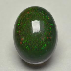 0.8ct Oval Cabochon Multicolor Black Opal Gem (ID: 500071)