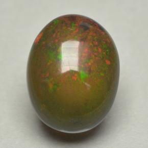 0.8ct Oval Cabochon Multicolor Black Opal Gem (ID: 500073)