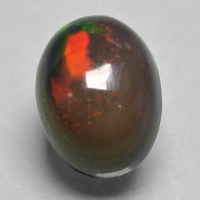 0.8ct Oval Cabochon Multicolor Black Opal Gem (ID: 500144)