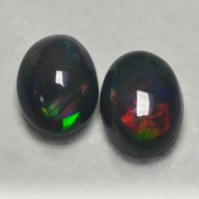 0.7ct Oval Cabochon Multicolor Black Opal Gem (ID: 500238)