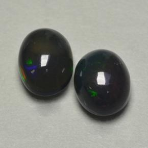 0.8ct Oval Cabochon Multicolor Black Opal Gem (ID: 500243)