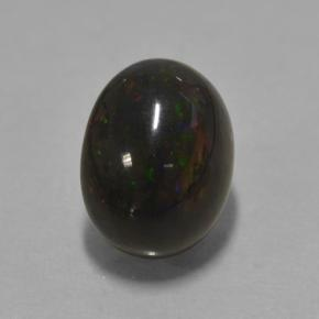 Multicolor Black Opal Gem - 2.1ct Oval Cabochon (ID: 501343)