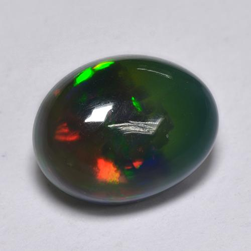1ct Oval Cabochon Multicolor Black Opal Gem (ID: 514309)