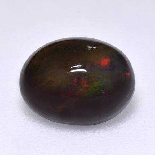 1.2ct Oval Cabochon Multicolor Black Opal Gem (ID: 515930)