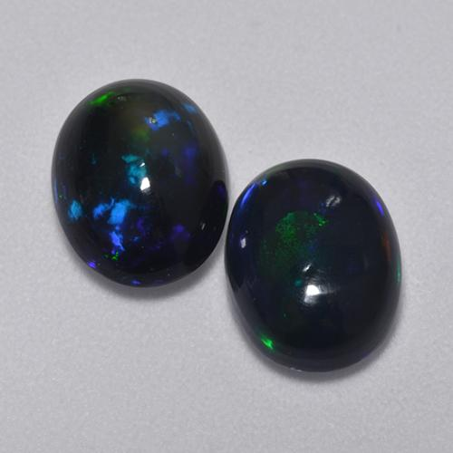 1.1ct Oval Cabochon Multicolor Black Opal Gem (ID: 516214)